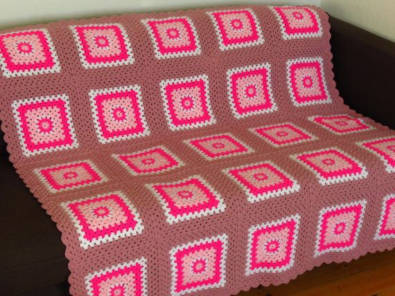 This pink afghan blanket will add warmth and style to your home whichever room you choose to use it. This pink throw blanket is ideal for the living room, sun room, family room or bedroom. Stylish and warm, a perfect combination.