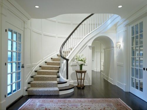17 best ideas about curved staircase on pinterest foyer for Furniture for curved wall in foyer