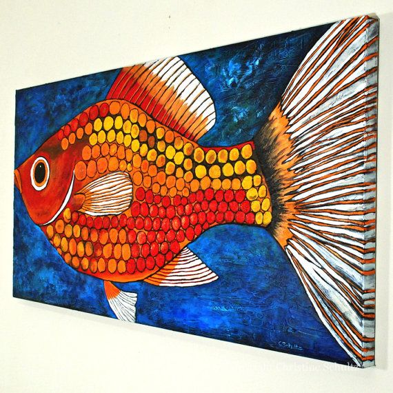 This huge four by two foot bright red fish painting will make a colorful statement in any room of your home or office--over a mantelpiece, in a kitchen or dining room, a childs room or favorite living space. Its modern art meets Mississippi folk art. DESCRIPTION: I painted this bright red, orange, and yellow fish on gallery wrapped acid free canvas with professional quality acrylic paint and molding paste using a palette knife and brushes to build up the textures.The fish image and blue…