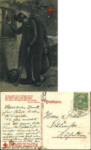 WWI German Red Cross injured soldier returning home WW1 c1915