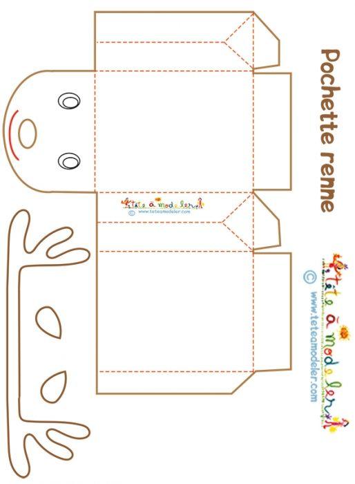 coloriage Pochette cadeau renne à colorier