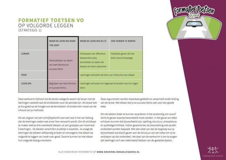 Formatief Toesen - Op volgorde leggen - strategie 1