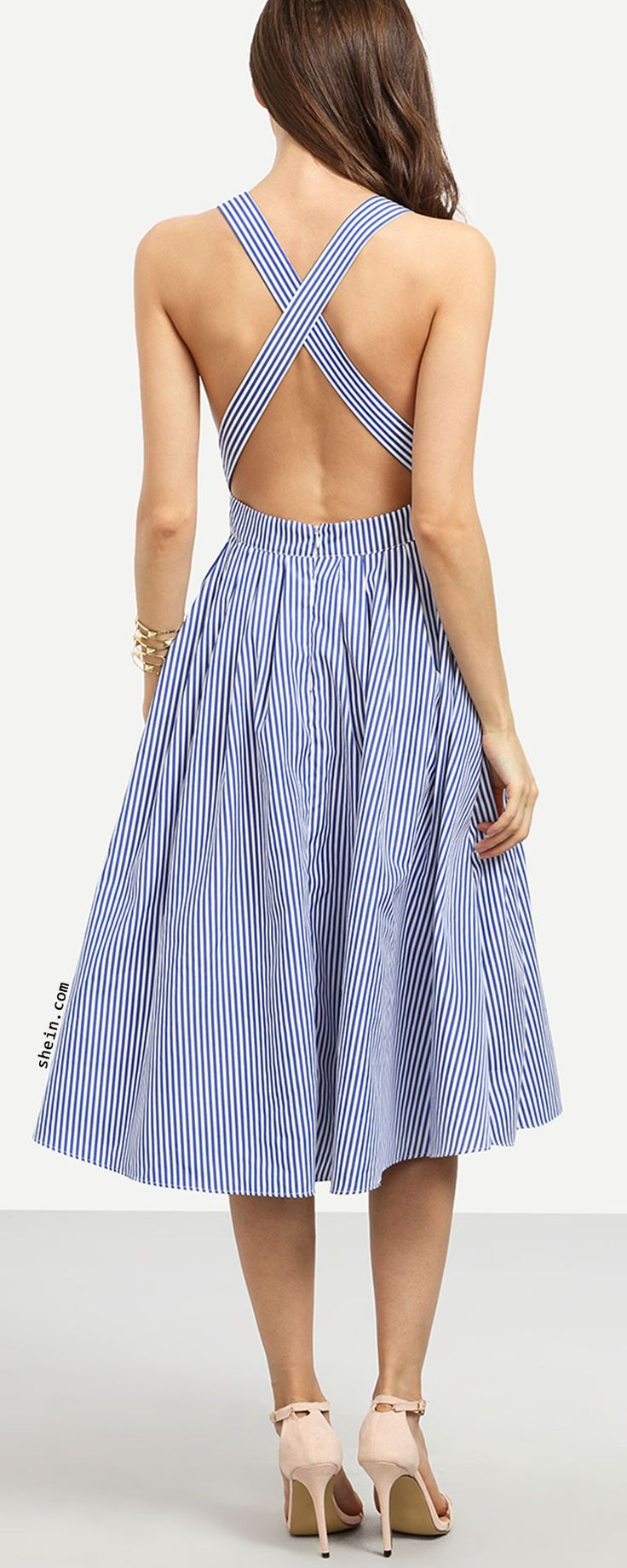 Blue Striped Sleeveless Criss Cross Back Dress