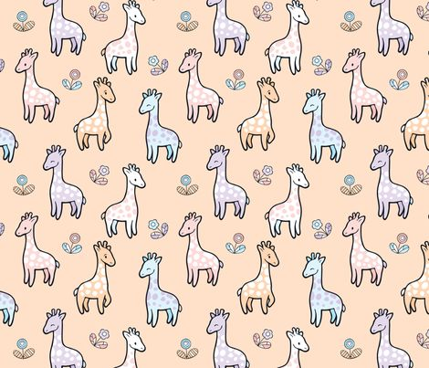Happy Cute Giraffes with flowers fabric by nossisel on Spoonflower - custom fabric