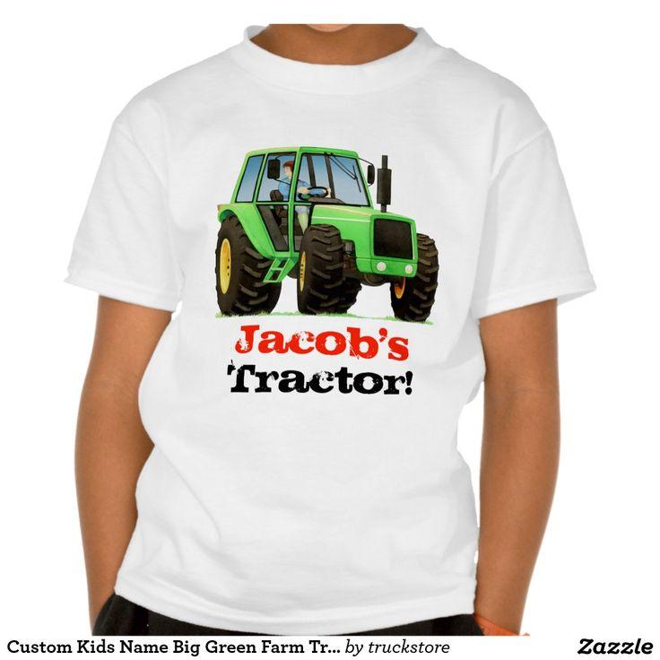Custom Kids Name Big Green Farm Tractor Tshirt