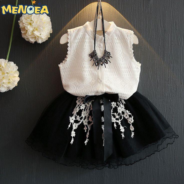 $9.74 (Buy here: https://alitems.com/g/1e8d114494ebda23ff8b16525dc3e8/?i=5&ulp=https%3A%2F%2Fwww.aliexpress.com%2Fitem%2FGirls-Dress-2016-Casual-Summer-Style-Girls-Clothes-Sleeveless-White-Lace-T-shirt-Grils-Dress-2Pcs%2F32691282576.html ) Menoea 2017 Brand New Casual Summer Style Girls Dress Sleeveless White Lace T-shirt+Grils Dress 2Pcs for Kids Clothes for just $9.74