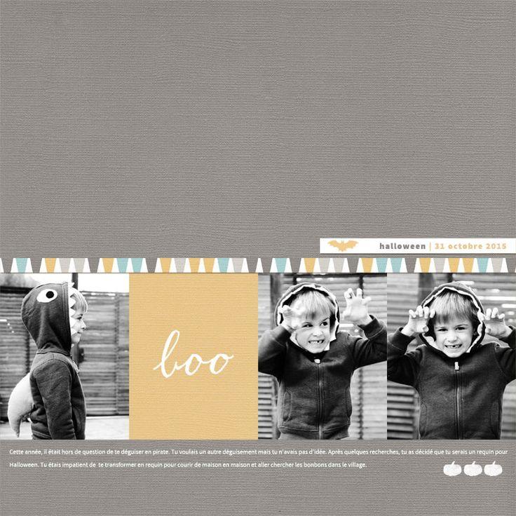 Template de scrapbooking simple et épuré qui offre de nombreuses possibilités de composition (1, 2, 3 ou 4 photos). En bonus, 2 wordarts (halloween et boo) et 2 tampons sur le thème d'halloween.