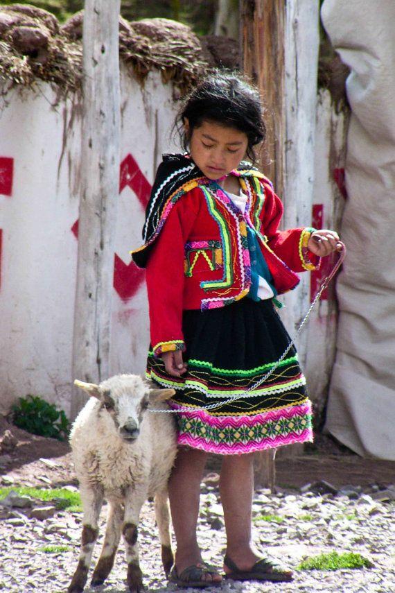 Fine Art Print Peruvian Girl and her lamb