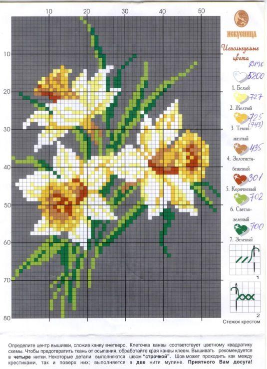 fleur - flower - jonquille - point de croix - cross stitch - Blog : http://broderiemimie44.canalblog.com/