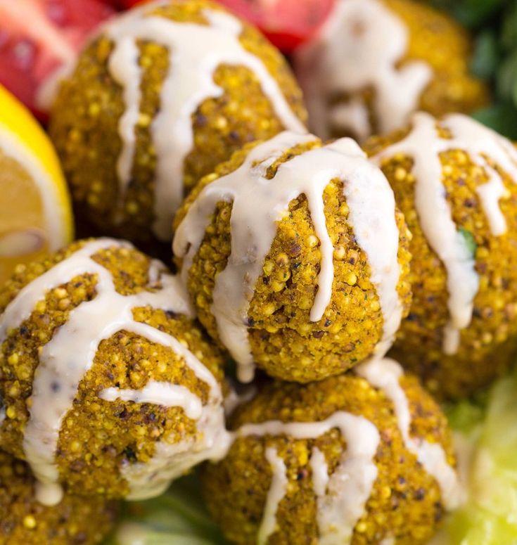 Gebackene Falafel mit Hirse - veganes & glutenfreies Rezept