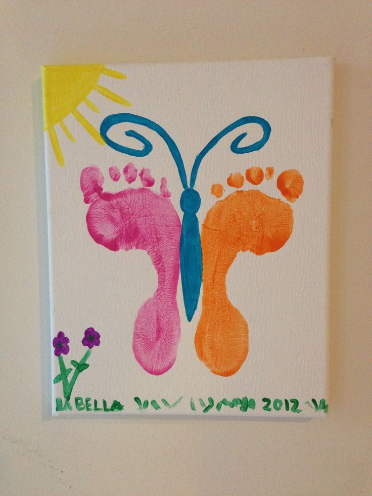 Foot print butterfly on canvas handprint footprint for Butterfly hands craft