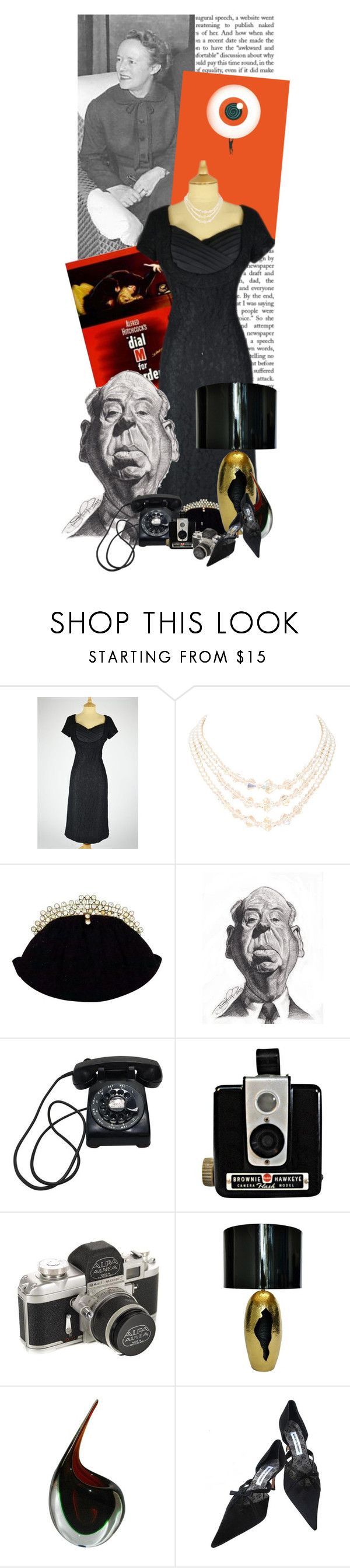 """""""Alma Lucy Reville, Lady Hitchcock"""" by sh0shan ❤ liked on Polyvore featuring Mela Loves London, Oggetti and Manolo Blahnik"""