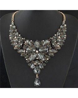 Resplendent Ice Crystal Flower Design Statement Fashion Necklace - Black