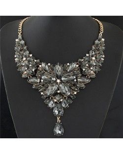 Resplendent Ice Crystal Flower Design Statement Fashion Necklace - Black
