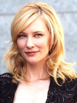 Cate Blanchett's side-parted hairstyle starts off smooth and then rolls into large bends and waves through her length.