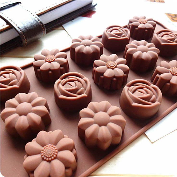 15-Cavity Silicone, Flower Rose, Cake Baking Tray
