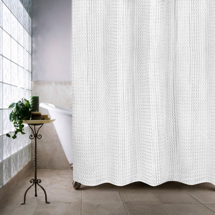 Extra Long White Waffle Shower Curtains Which Work Great For 8ft Ceiling