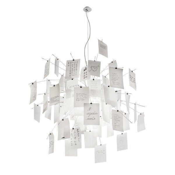Model: Zettel'z 5 hanglamp - Ontwerper: Ingo Maurer - Herkomst: Duitsland - Materiaal: Glas, papier en staal - Prijs: € 742,90