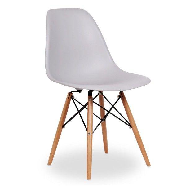 silla de diseño moderno de plastico y madera haya