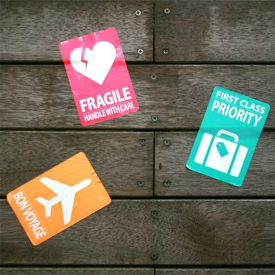 carrier, ruggage sticker. Priority, Fragile, Bon voyage  neon color, neon orange, neon cherry pink, neon mint