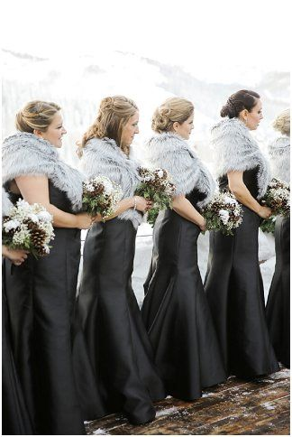 Stein Eriksen Lodge New Years Eve Park City Wedding, Logan Walker Photography, Black Floor Length Bridesmaid Dresses with Grey Fur Stole - http://fabyoubliss.com/2015/08/13/elegant-new-years-eve-park-city-wedding