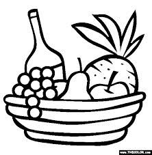 Fresh Fruit Basket For Gift Coloring Pages Kids