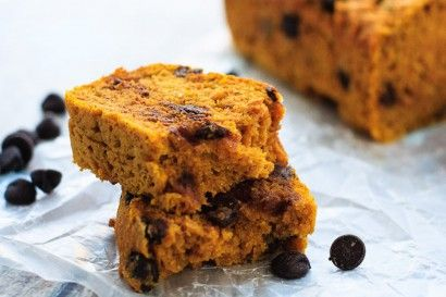 Easy, moist, delicious, and healthy, this chocolate chip pumpkin bread is perfect for a snack, or even for breakfast! Low fat, low sugar, and whole grain.