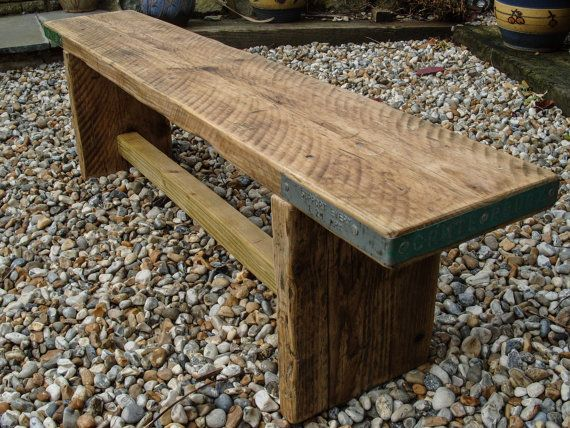 Reclaimed Scaffold Board Rustic Chunky Wood Bench