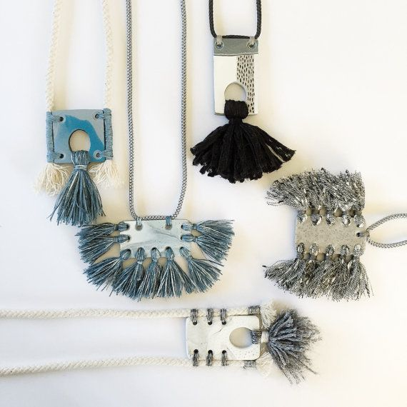 Polymer clay pendant necklace with tassels by Kelaoke on Etsy