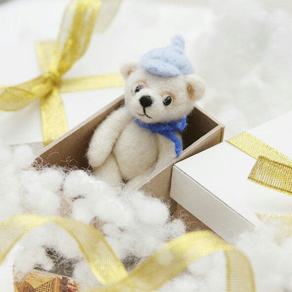 Miniature white bear - Christmas gift for kids or your friends - buy it now on feltpetsshop.etsy.com