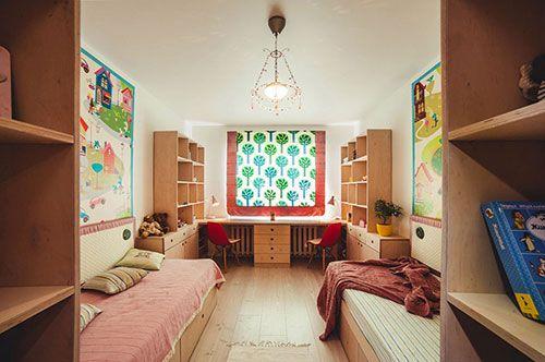 Kinderkamer met symmetrische indeling | Slaapkamer ideeën