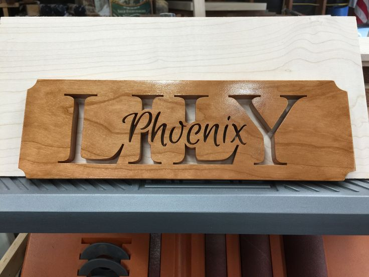 """Lily Phoenix"" - Sheila Landry Design pattern made from Cherry wood with a Shellac finish."