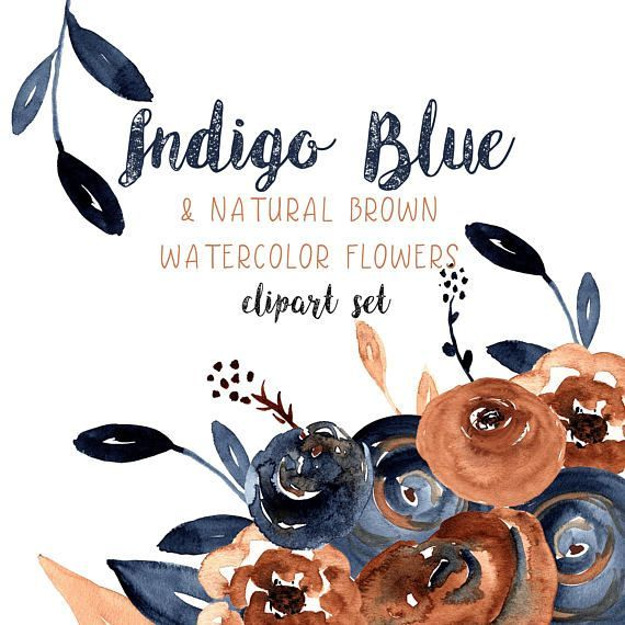 Indigo Flower Clipart Blue and Brown Flower Clipart