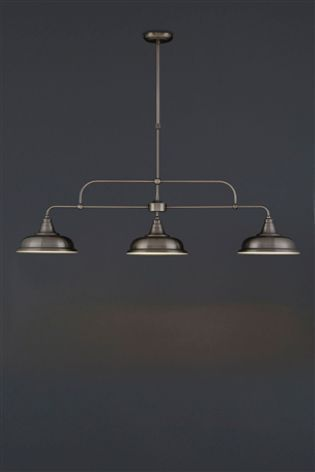 Pewter Oxford 3 Light Linear Pendant
