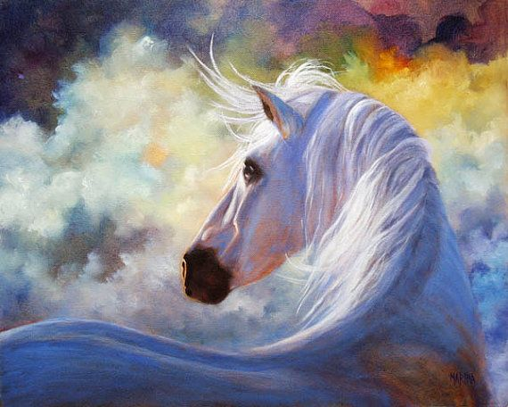 Beautiful white horse paintings - photo#15