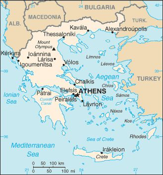 Map of Greece. Athens is the capital.