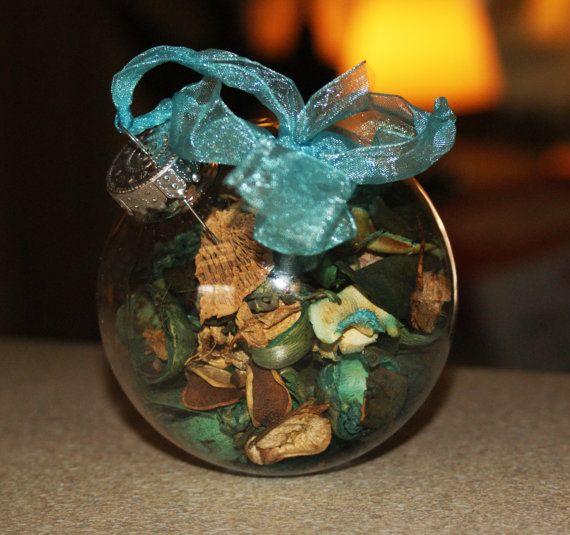 Blue Floral Potpourri Christmas Ornament XMas by Teakberry on Etsy