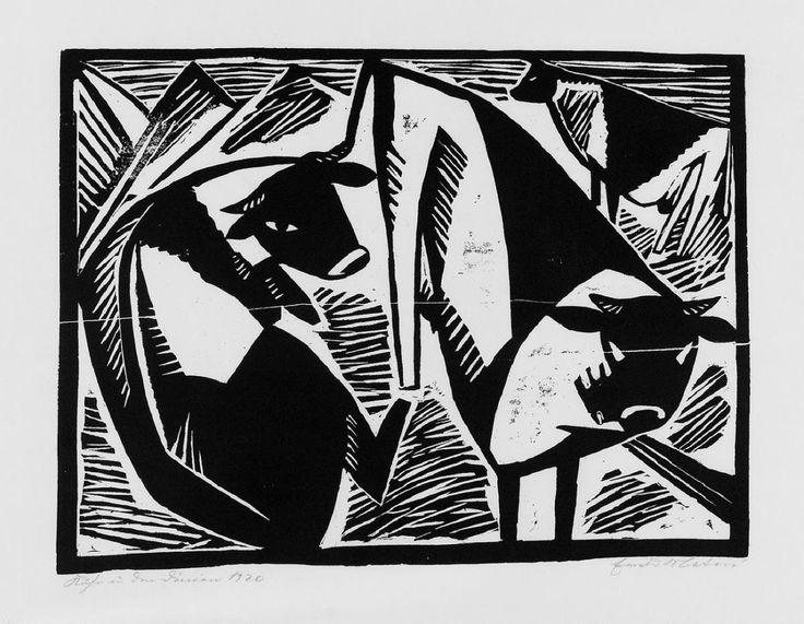 Drei Kühe in den Dünen - holzschnitt 1920 - Ewald Wilhelm Hubert Mataré, 1887-1965 Deutschland