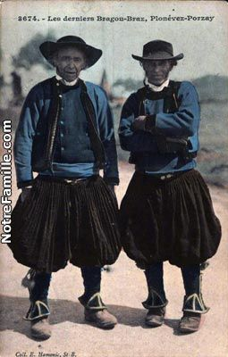 "Les derniers Bragou-Braz (culottes bouffantes) - Last of the traditional Breton costume with ""puffy pants"" -"