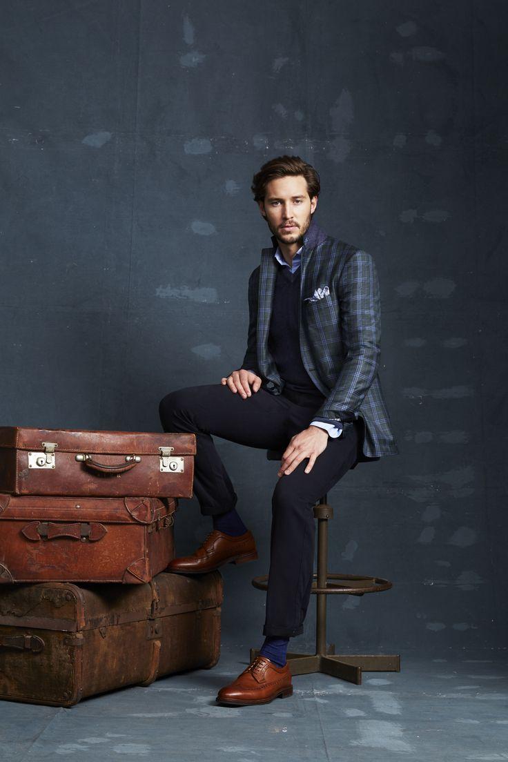 Greenberg Forest Jacket; Roddick Navy Knit; Appleton Blue Oxford Shirt; Ayres Ink Trouser; Megeve Navy Pocketchief