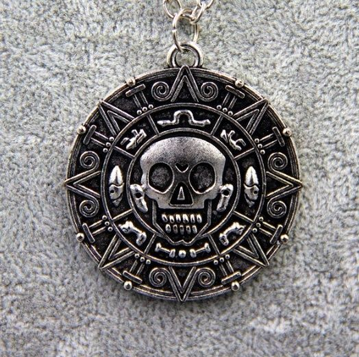 Pirates of the Caribbean Aztec Coin Medallion Skull Charm Fancy Necklace