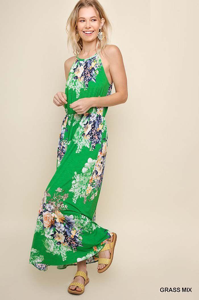 a555427e900 Katie Floral Halter Maxi Dress   Grass – GOZON Boutique