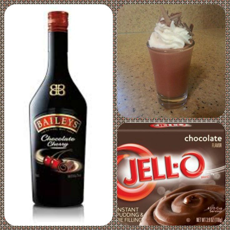 Baileys Chocolate Cherry Pudding Shots  1 small Pkg. chocolate instant pudding ¾ Cup Milk 3/4 Cup Chocolate Cherry Baileys US 8oz tub Cool Whip  Directions 1. Whisk together the milk, liquor, and instant pudding mix in a bowl until combined. 2. Add cool whip a little at a time with whisk. 3.Spoon the pudding mixture into shot glasses, disposable shot cups or 1 or 2 ounce cups with lids. Place in freezer for at least 2 hours