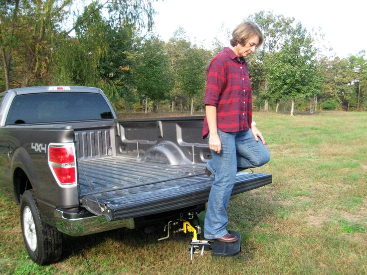 Step extends out beyond truck tailgate.  Easy up and down access to truck bed.