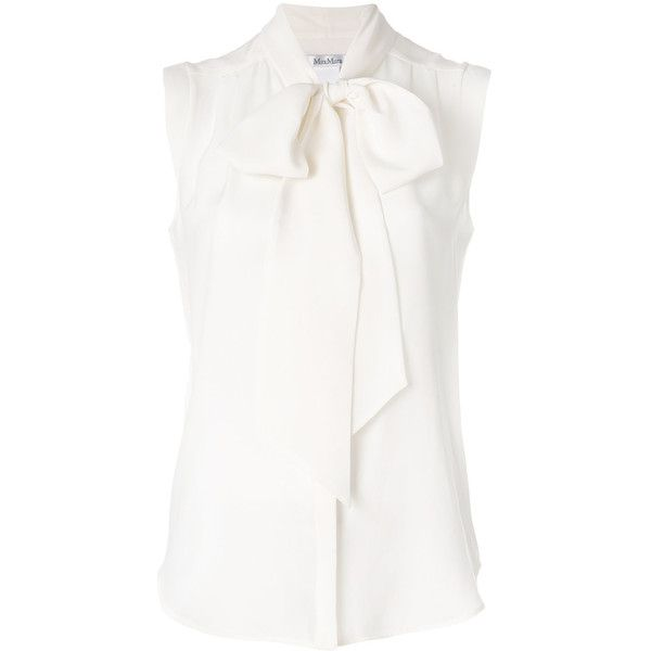 Max Mara Tevere blouse (2,110 ILS) ❤ liked on Polyvore featuring tops, blouses, white, silk blouse, white tops, white silk blouse, white blouses and maxmara
