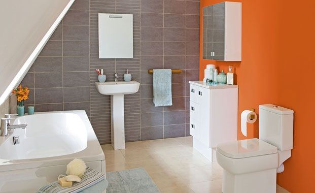 Feature wall  Consider giving your bathroom a feature wall, using paint, tiles or perhaps both! The injection of colour will lift a plain white suite. Bathroom suite by BandQ.