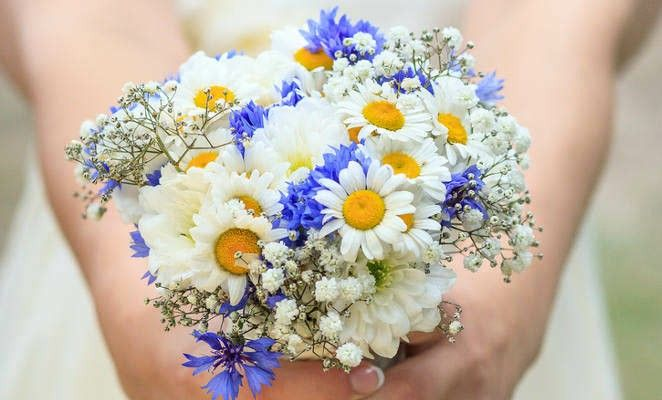 Sweet Wedding Bouquet Featuring: White/Yellow Daisies, White/Green Daisies, White Gypsophila + Blue Cornflower