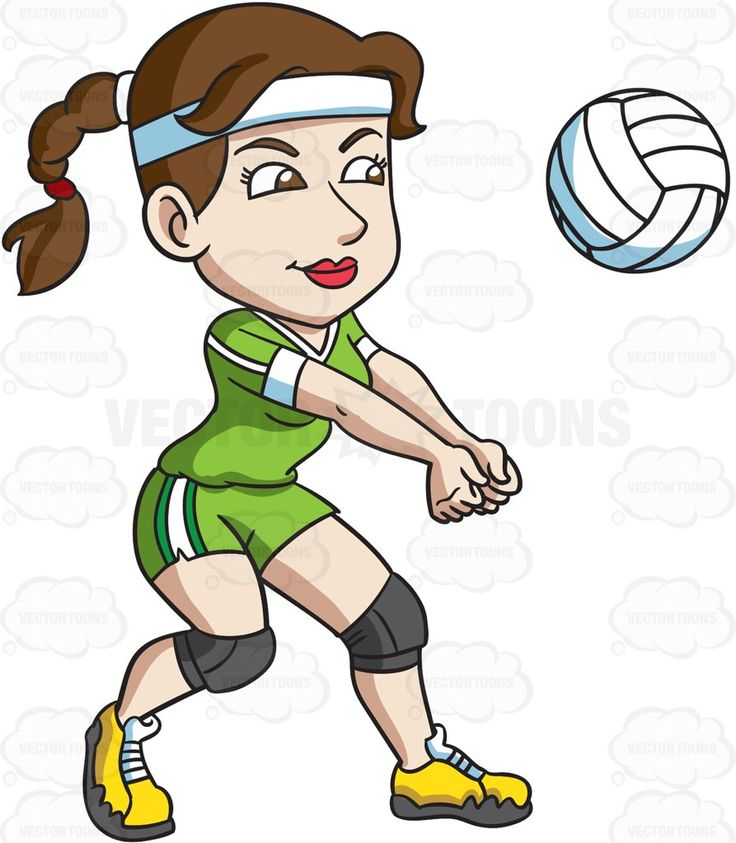 A female volleyball player hits a ball with her forearms #cartoon #clipart #vector #vectortoons #stockimage #stockart #art