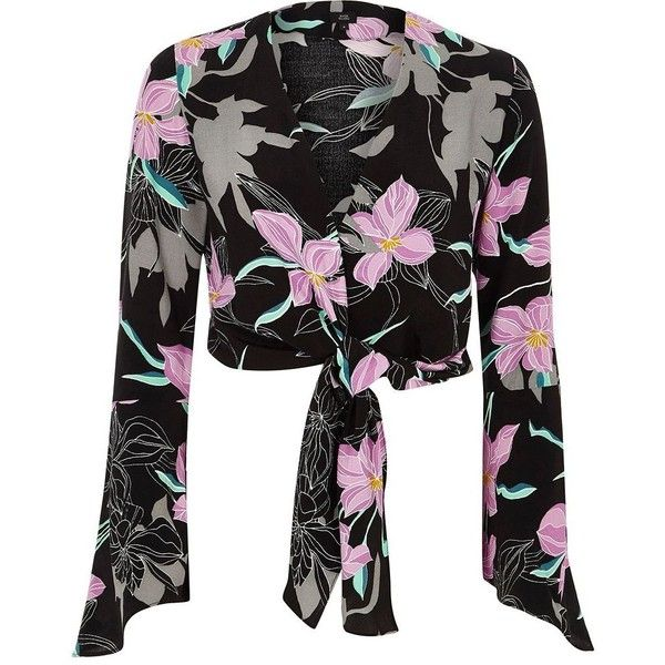 99a94d83b3465 River Island Black floral wrap bell sleeve crop top ( 64) ❤ liked on  Polyvore