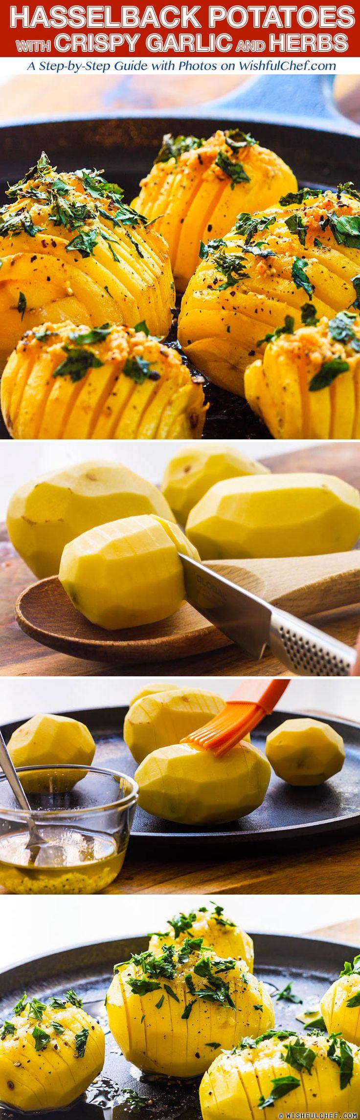 Simple Hasselback Potatoes with Crispy Garlic and Herbs // wishfulchef.com
